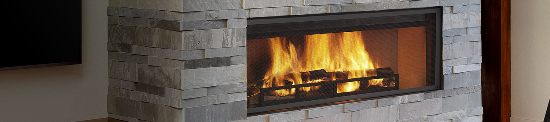 wood linear fireplace